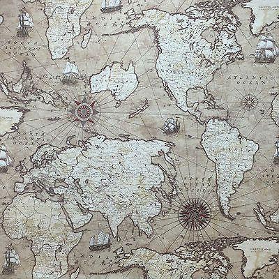 World map atlas vintage design cotton linen curtain upholstery world map atlas vintage design cotton linen curtain upholstery fabric 54 wide gumiabroncs Image collections