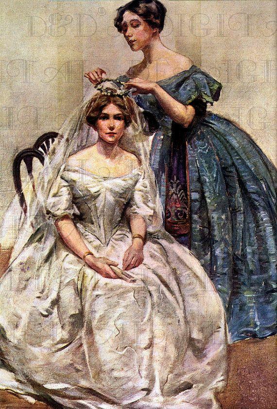 Stunning Victorian Edwardian Bride And Her Maid VINTAGE Illustration DIGITAL Download