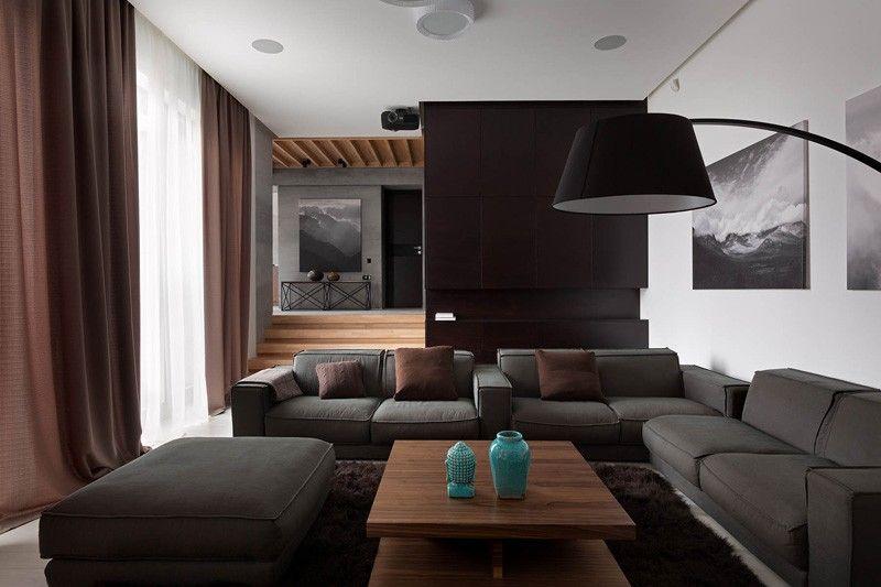 Salon marron et gris salon rooms home decor house design et modern house design - Salon marron et gris ...