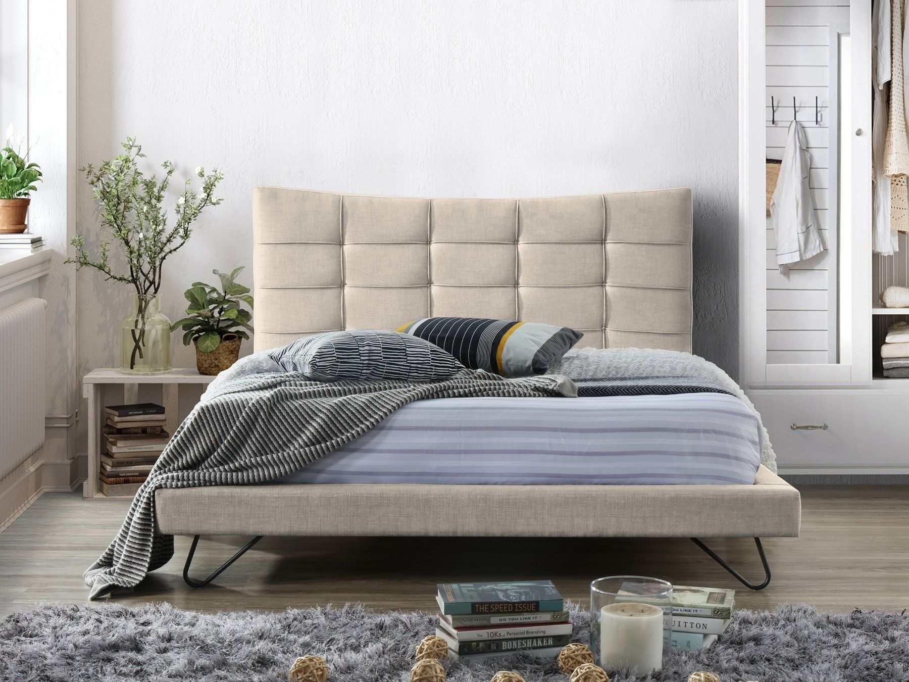 Fabric EU King Size Bed Beige LANNION (With images) Grey