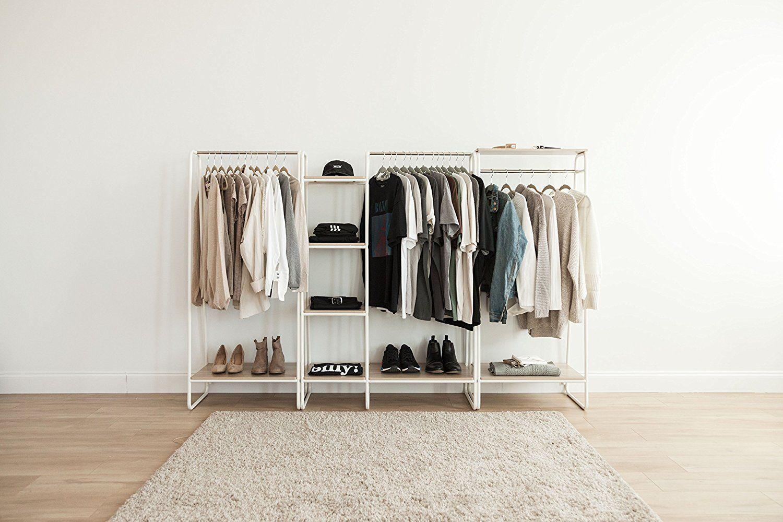 Amazon iris metal garment rack with wood shelf white and ligh