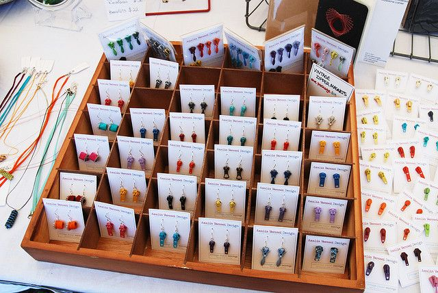 You could probably make a display like this with cardboard.    zipper earrings…