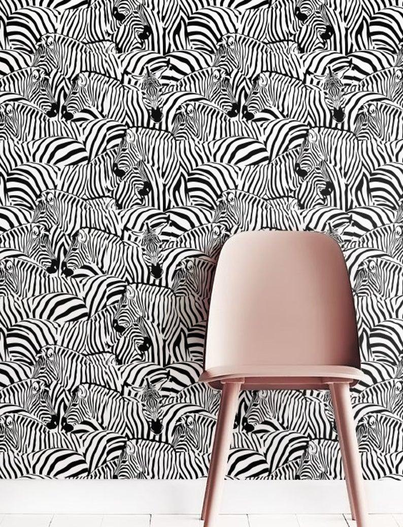 Zebra Print Wallpaper Removable Wallpaper Self Adhesive Etsy In 2020 Zebra Print Wallpaper Print Wallpaper Tropical Wall Decor