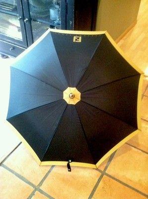 Fendi Vintage 70s 80 S Perfume Promitional Umbrella Logo Black Gold Designer Ebay Umbrella Fendi Vintage