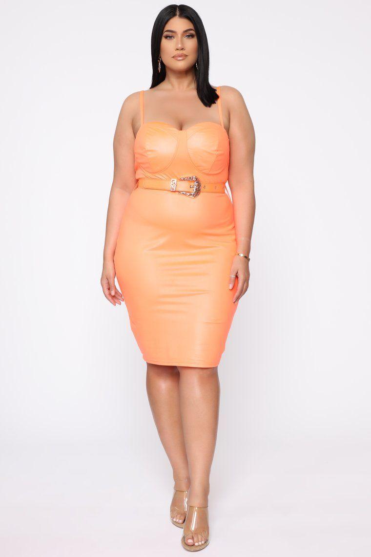Coming In Hot Faux Leather Midi Dress Neon Orange