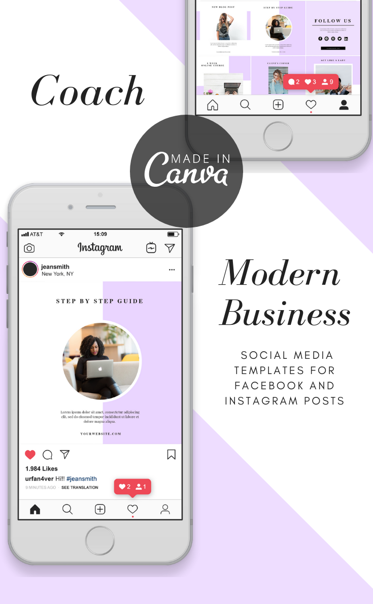 Let Your Biz Shine On Instagram Get Noticed In No Time Save Time In Photoshop By Using These Profess Coach Instagram Instagram Design Social Media Template