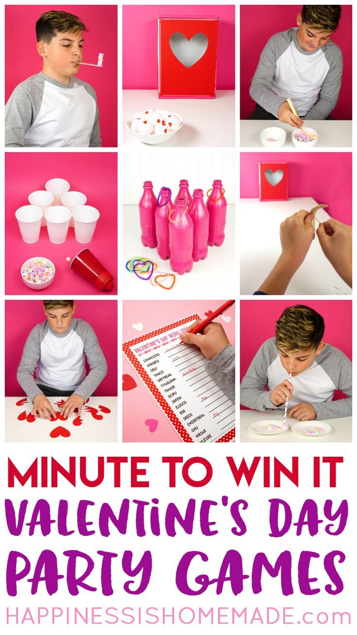 These Minute to Win It Valentine Games will be the hit of your Valentine's Day party! Valentine Minute to Win It Games for kids and adults - everyone will want to play! via @hiHomemadeBlog