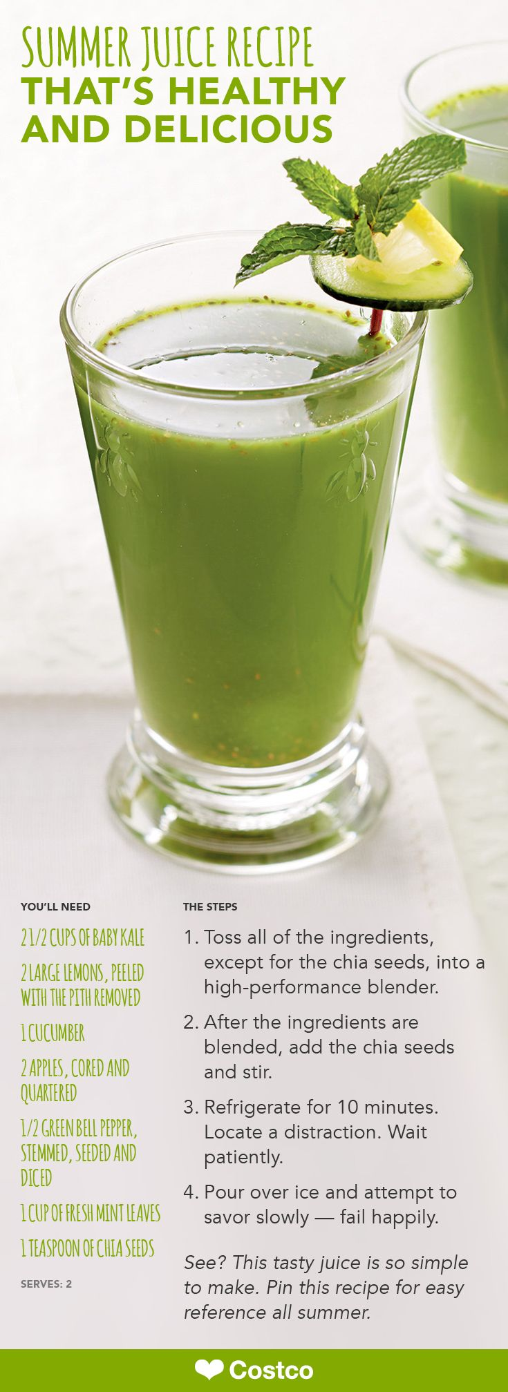This mean green kale juice packs a powerful punch of