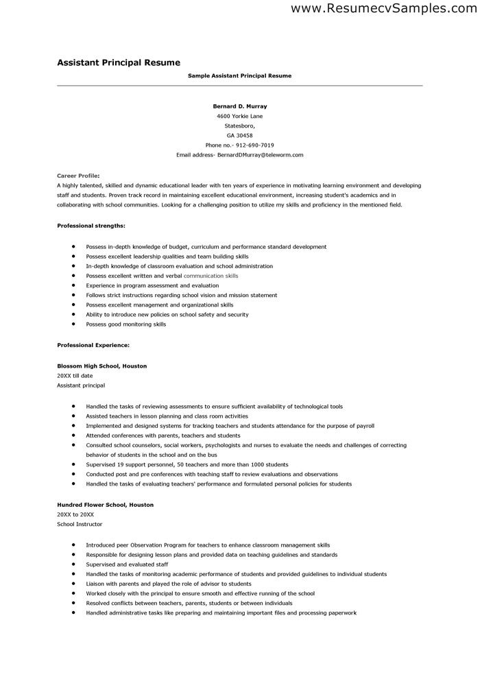 Best Assistant Principal Resume Examples The resume has to different