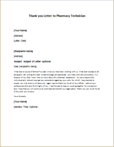 thank you letter to pharmacy technician download at httpwriteletter2com