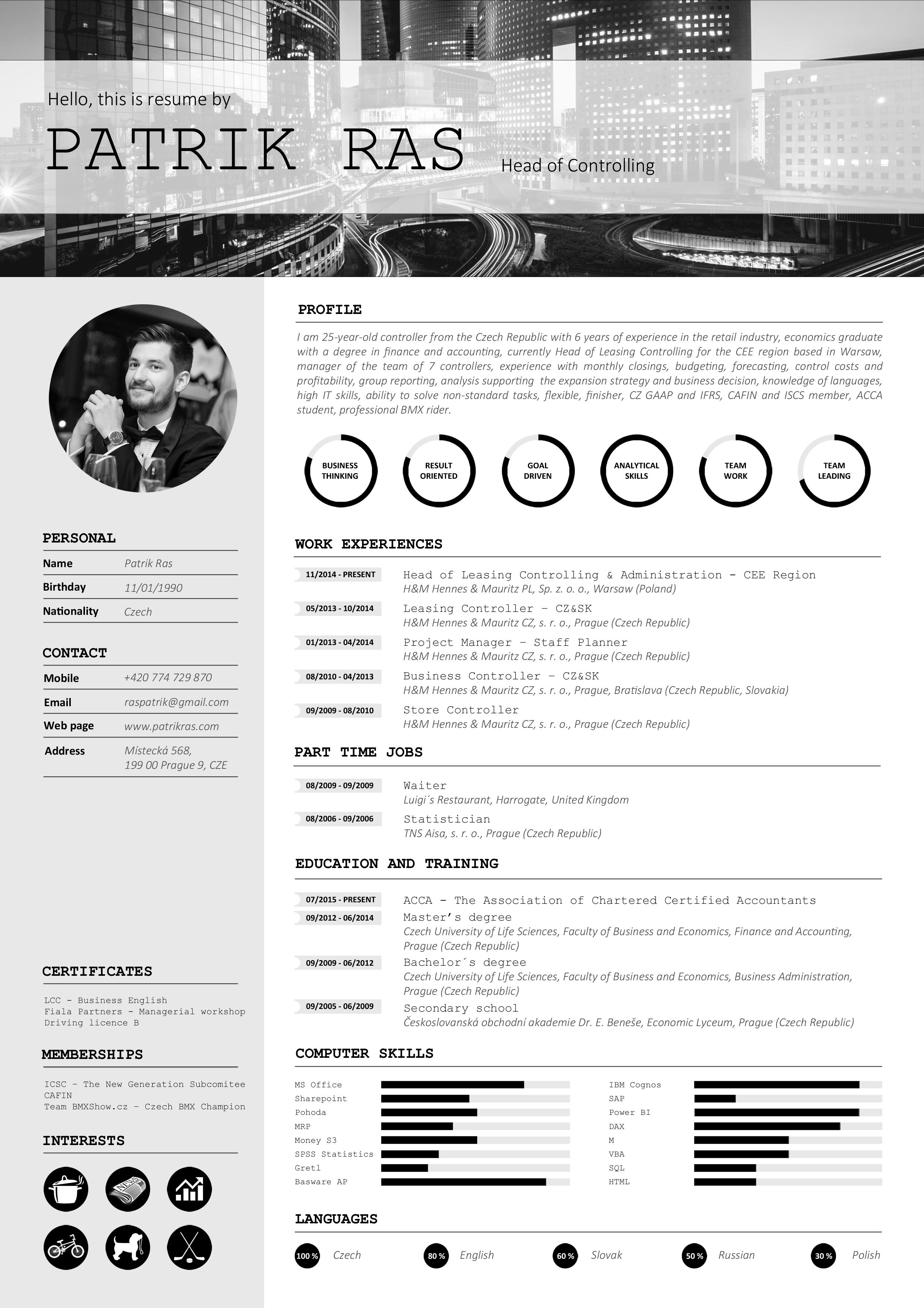 resume cv template graphics blackandwhite bw icons