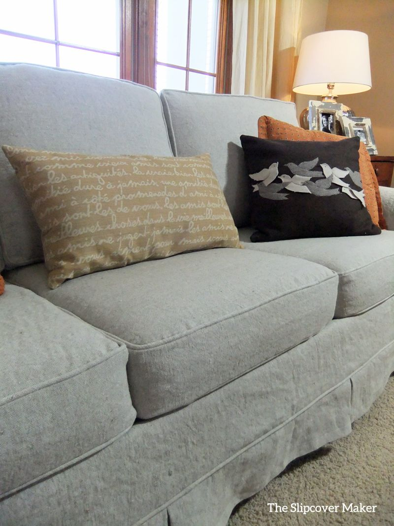 Grey Sofa Slipcover Linen Sofa Slipcover Makeover Upholstery And Slipcovers Linen