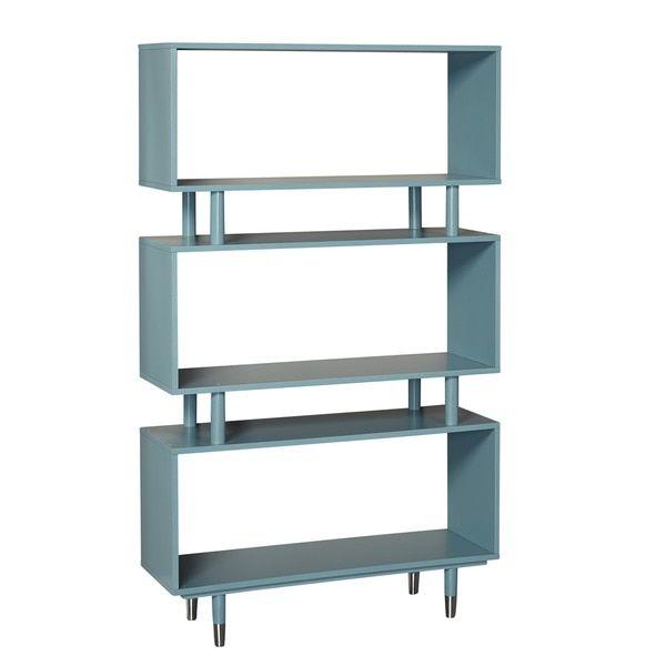 simple living margo midcentury 3shelf bookshelf antique blue