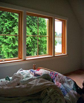 White Windows With Wood Trim
