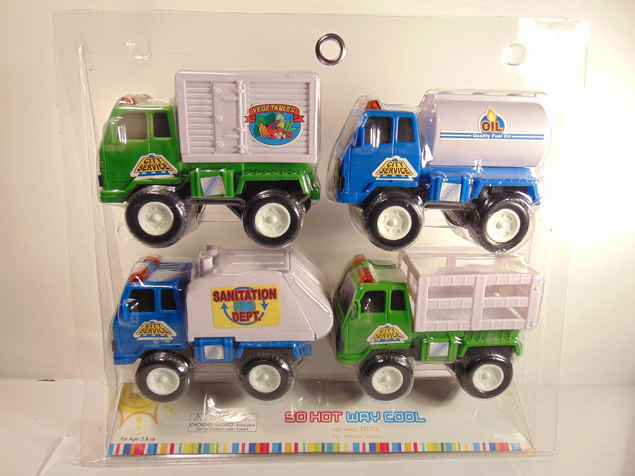 So Hot Way Cool City Service Free Wheel Toy Trucks Set of