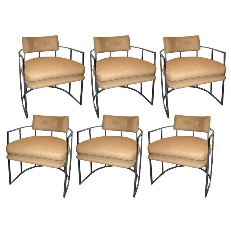 milo baughman dining chairs adrian pearsall lounge chair set of six chrome interiors