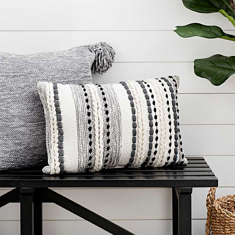 Gray Knots And Braids Wool Accent Pillow Kirklands Pillows Grey Throw Living Room
