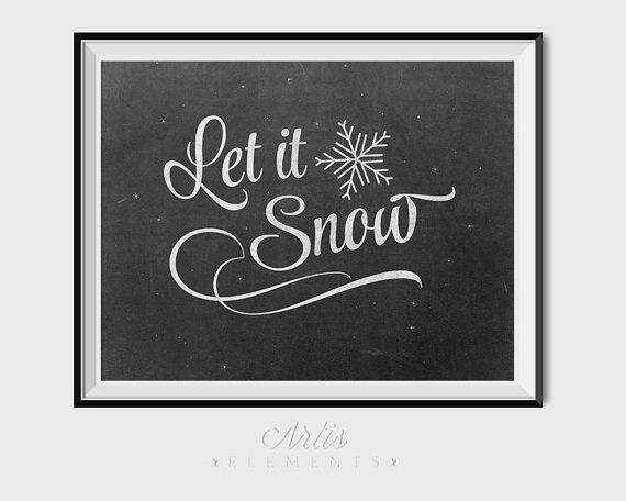 Let it Snow Retro Chalkboard Script & Snowflakes by ArtisElements
