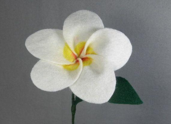 Felt Plumeria Flower Handmade White Tropical Bloom Artificial Flower Fake Flower Artificial Plumeria Fake Plumeria Flowers Felt Flowers Flower Making
