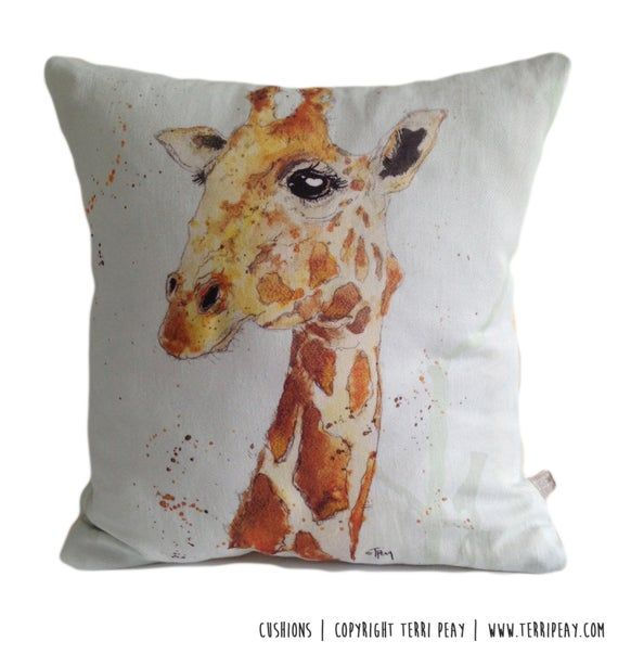 Animal Cushion, Giraffe Cushion, Wild Animal Cushion, Animal Pillow, Cotton Cushion, Africa, Scatter Cushion, Painted Cushion, Personalised