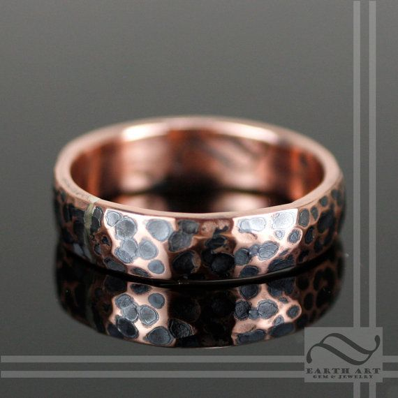 Oxidized Hammered Copper Wedding Band