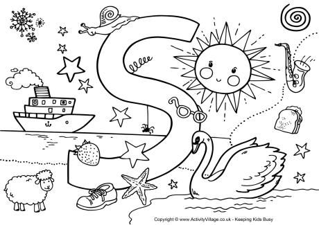 Letter S Colouring Page Scuola Italiano Pinterest Spy Abc S Coloring Page