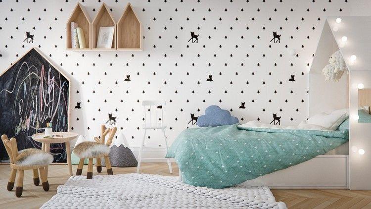 Skandinavisches Kinderzimmer Gestalten Mit Spielecke, Tafel Und Kreative  Beleuchtung über Dem Bett