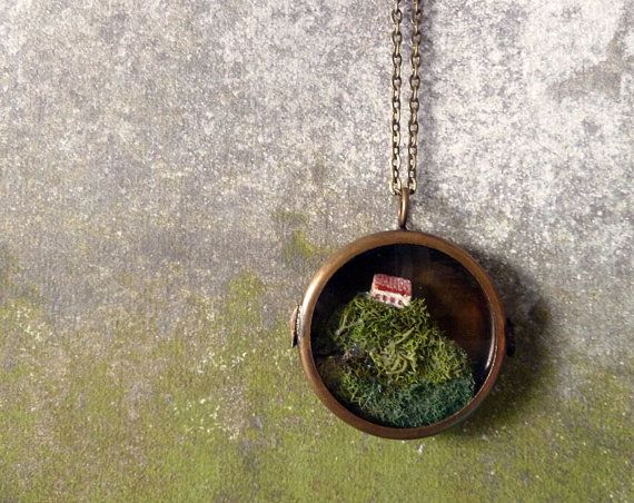 O'er the Cliffs of Dover - English Country Style Terrarium Brass Locket Necklace $125.00 #fashion #style #jewelry #necklace #terrarium #English #country #cottage