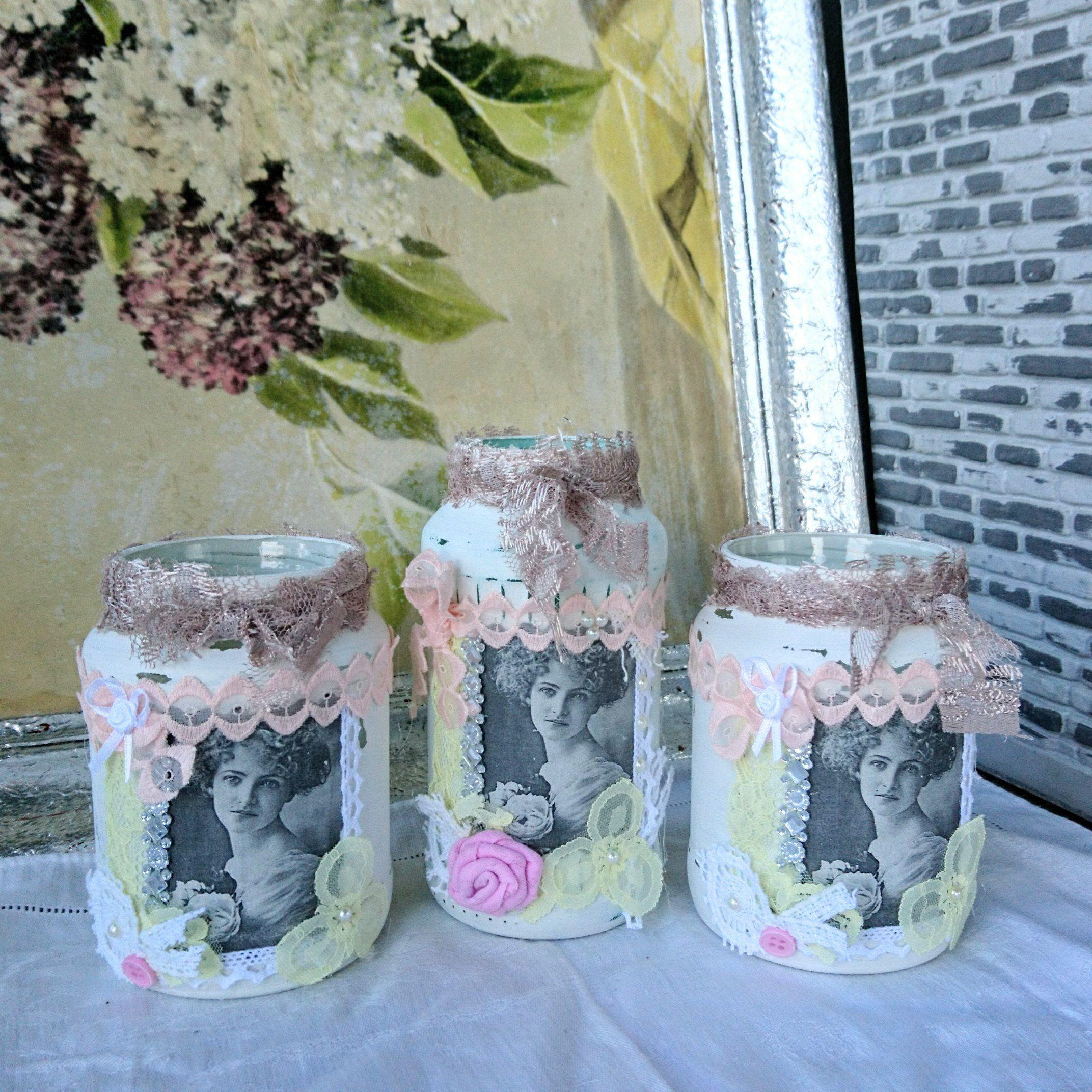 3x Shabby Chic Windlicht Deko Vintage Teelichthalter Vase Glas Tischdeko Gartendeko Romantisch Spitze Rosen Feier Gedeckter Tisch Hochzeit Teelichthalter Vase Glas Herbst Dekoration