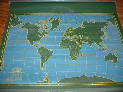 Vintage pull down school map nystrom world chalk map mid vintage pull down school map nystrom world chalk map mid century gumiabroncs Images