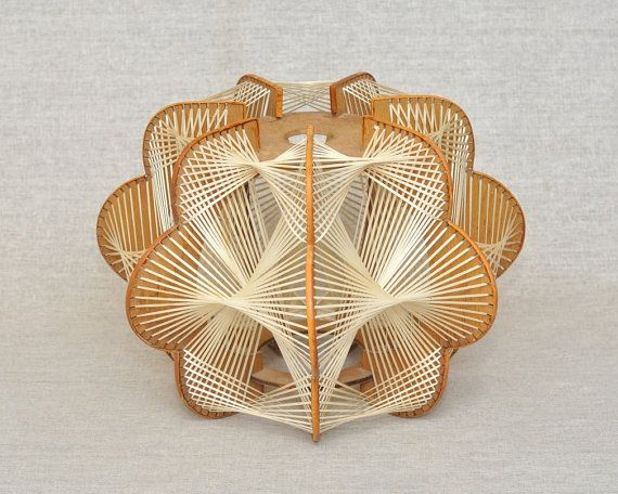 Vintage Wood Lamp Shade Net Wicker, Retro Futurism Design