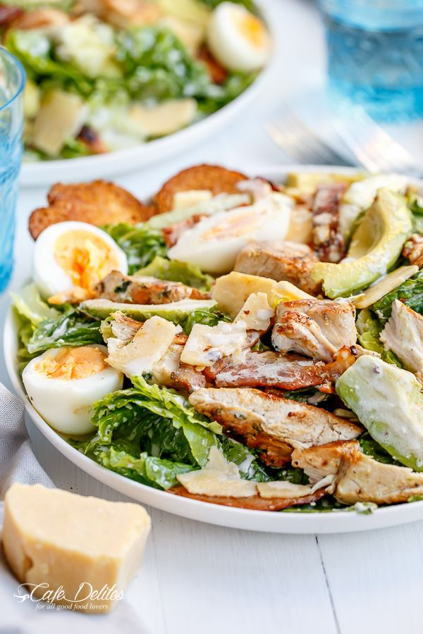Skinny Chicken and Avocado Caesar Salad with awesome greek yogurt based dressing.