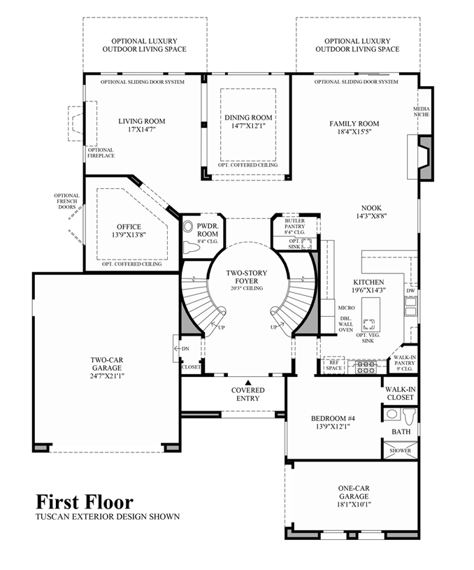 New Luxury Homes For Sale In Moorpark Ca The Pinnacle At | Double Staircase House Plans | Bedroom | First Floor | Residential | Blueprint | Modern