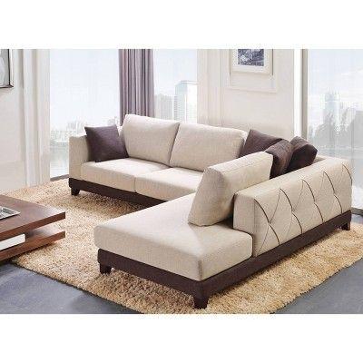 Marvelous Wellington Upholstered Sectional Cream Abbyson Living Machost Co Dining Chair Design Ideas Machostcouk