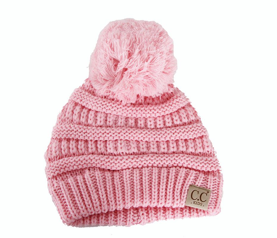 e202475194b C.C. Beanie Cable Knit Beanie with Pompom for Kids in Pale Pink  YJ847POM-PALEPINK