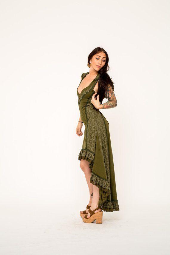 a9649d8b3e GREEN HOODED DRESS, hooded dress, green dress, pixie dress, fairy dress,  psy clothing, pixie dress