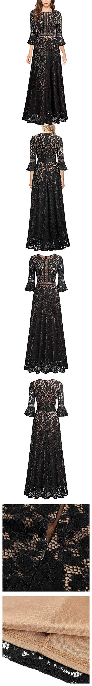 4753f5596 MissMay Women s Vintage Full Lace Contrast Bell Sleeve Formal Long Maxi  Dress