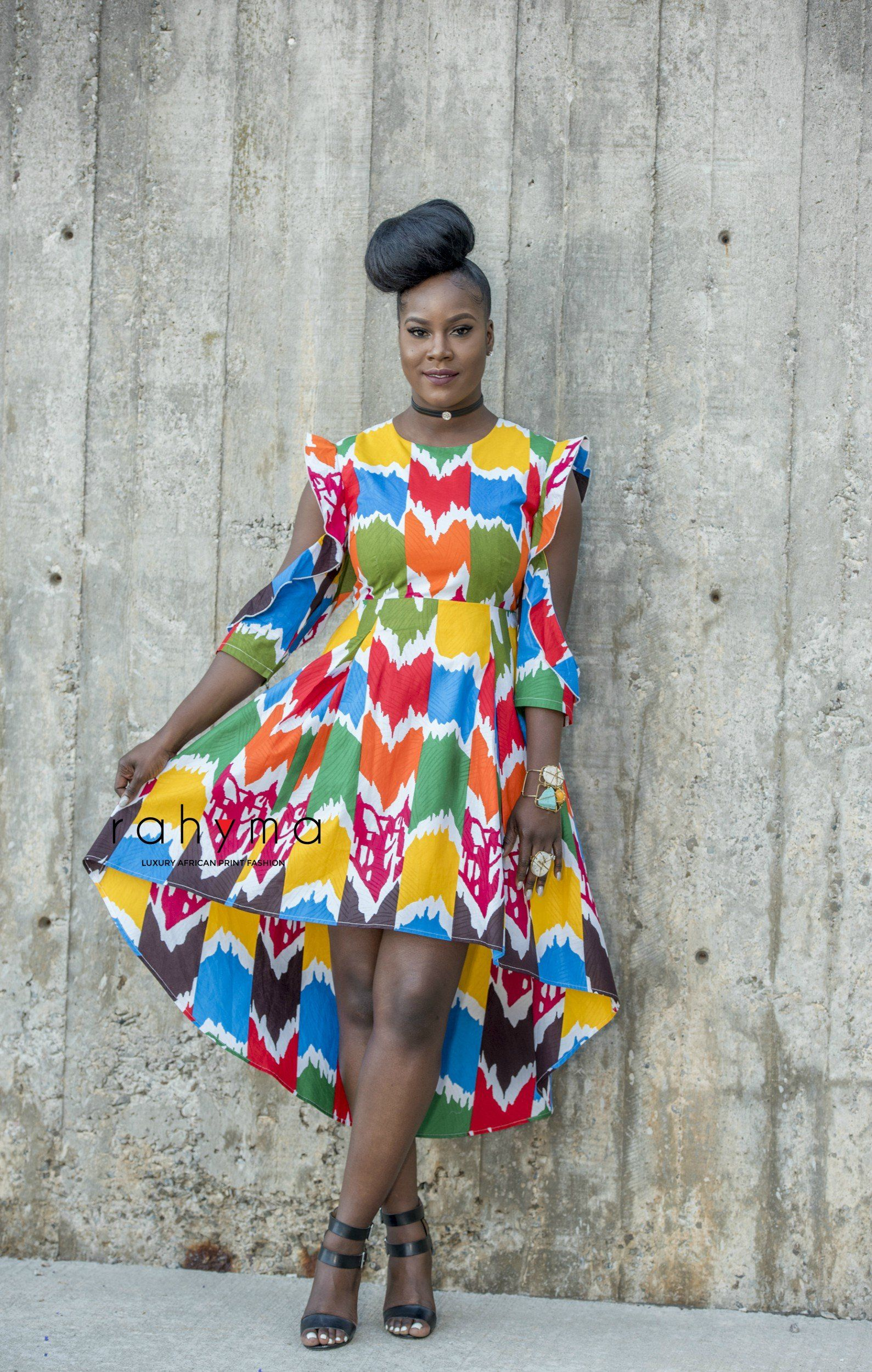 Glamorous African Print High Low Dress Carefully Made To