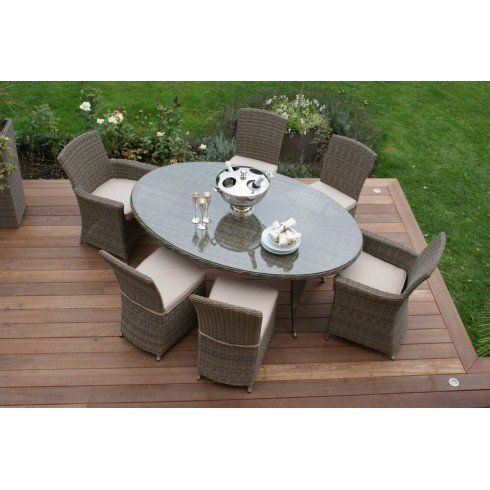 Dorset Rattan Garden Furniture Oval Table with  carva and