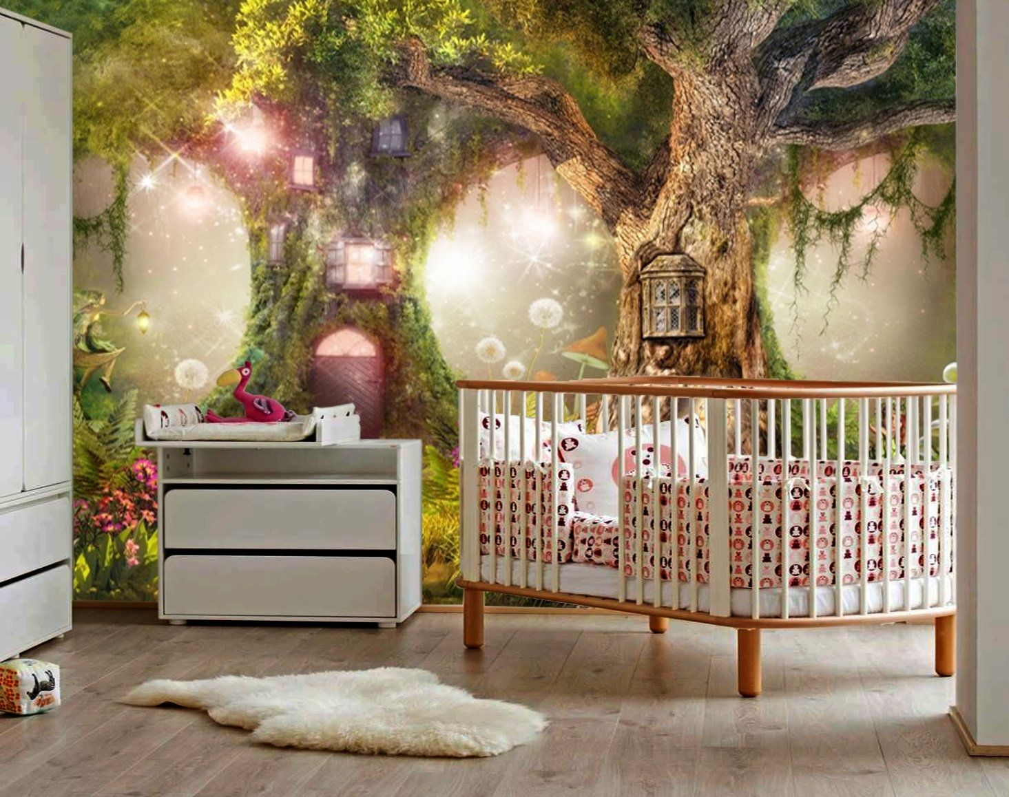 All woodland nursery designs also available on gift wrap and wallpaper. Wallpapermagical Forest Nurserymagic Treefairy Etsy In 2021 Forest Baby Rooms Girl Forest Room Enchanted Forest Nursery Theme