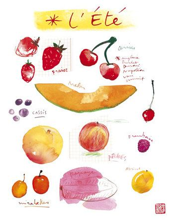 Food Art Seasonal Fruits Fruit Print Kitchen By Lucileskitchen Watercolor Fruit Fruit In Season Fruit Illustration