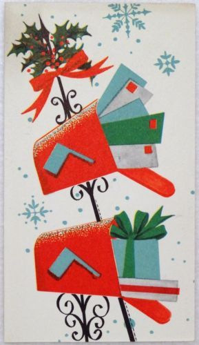 #1285 50s Mid Century Mailboxes-Vintage Christmas Greeting Card