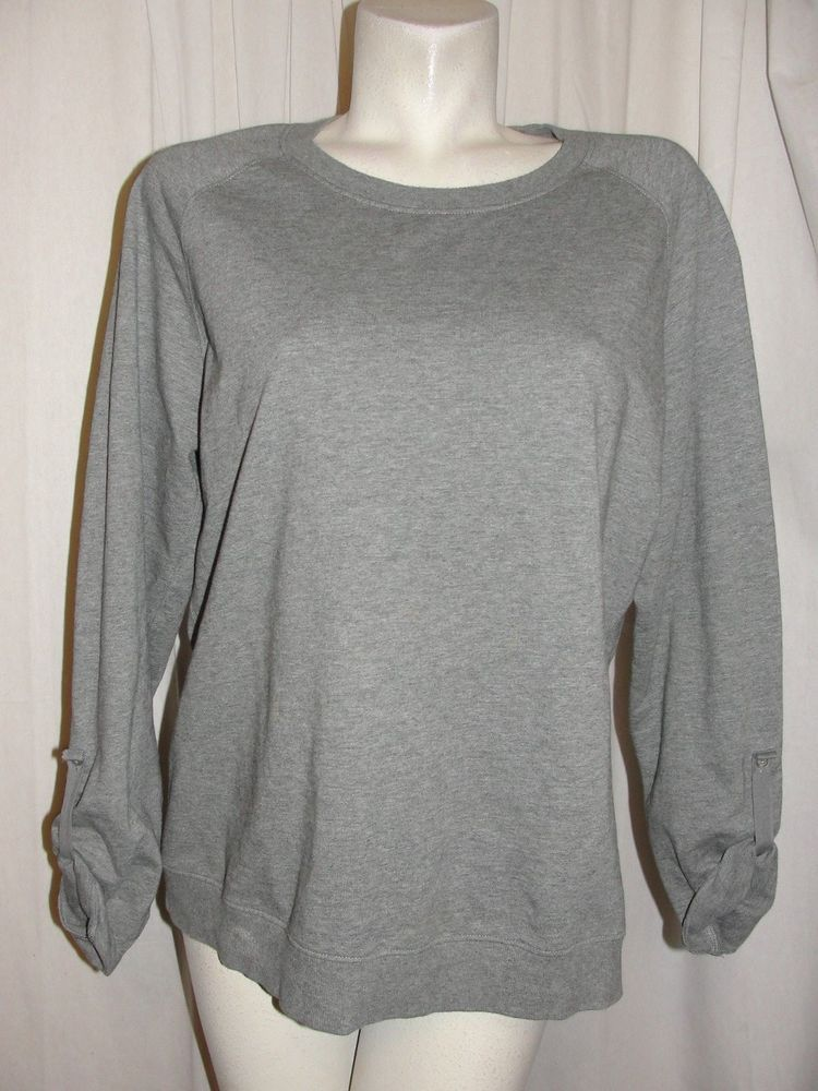 Land's End Women's Top Gray CrewNeck Baumwolle Pullover LS Shirt Size XL 18-20 #LandsEnd #KnitTop #Casual