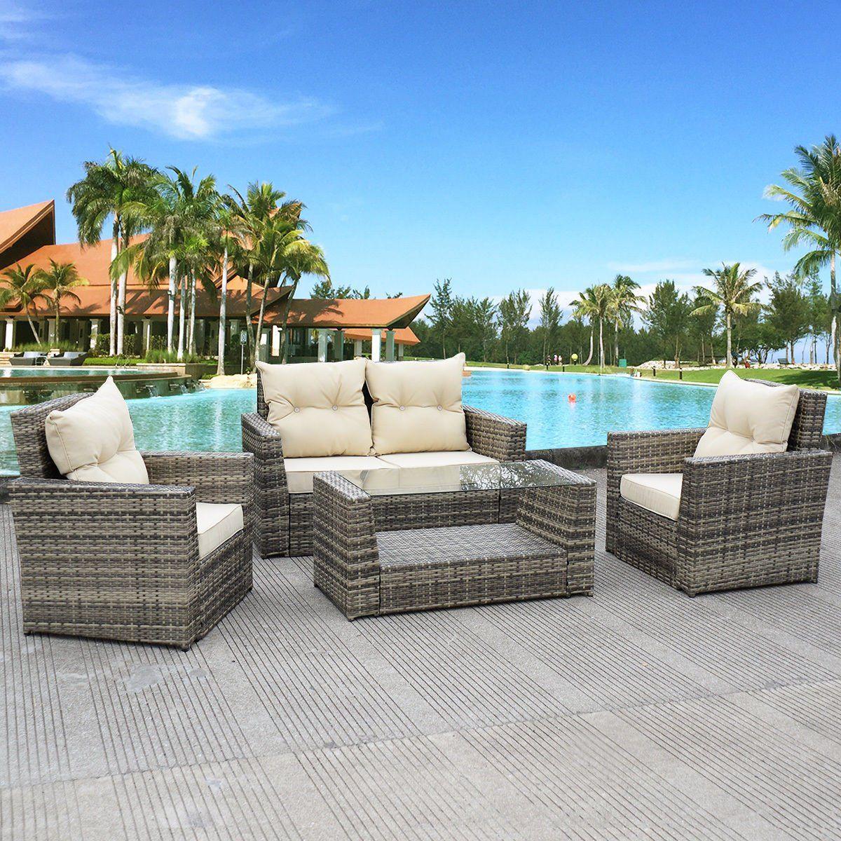 Tangkula 4PCS Outdoor Patio Rattan Wicker Furniture Set Loveseat