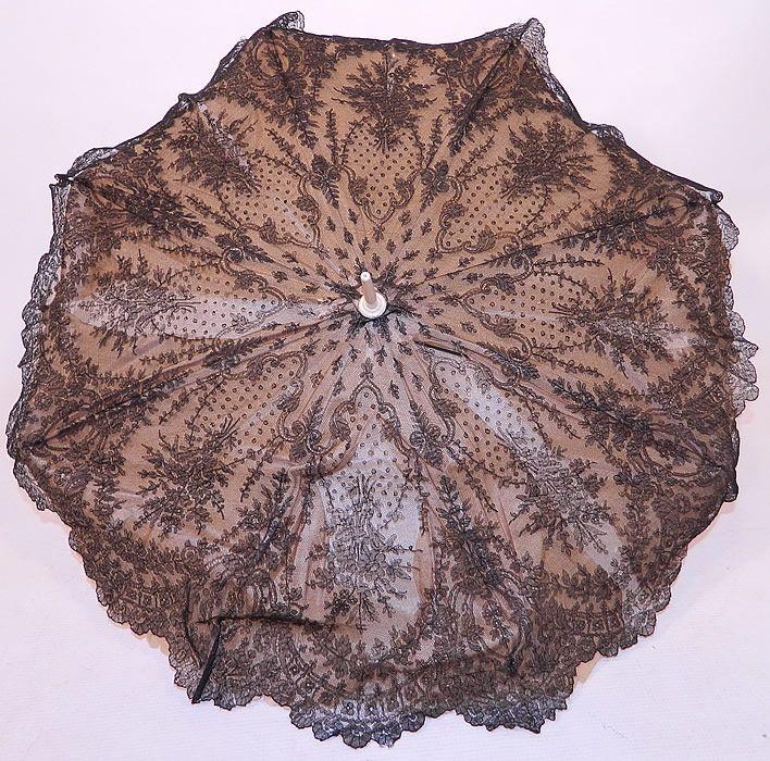 Victorian Civil War Antique Black Chantilly Lace Carved ...