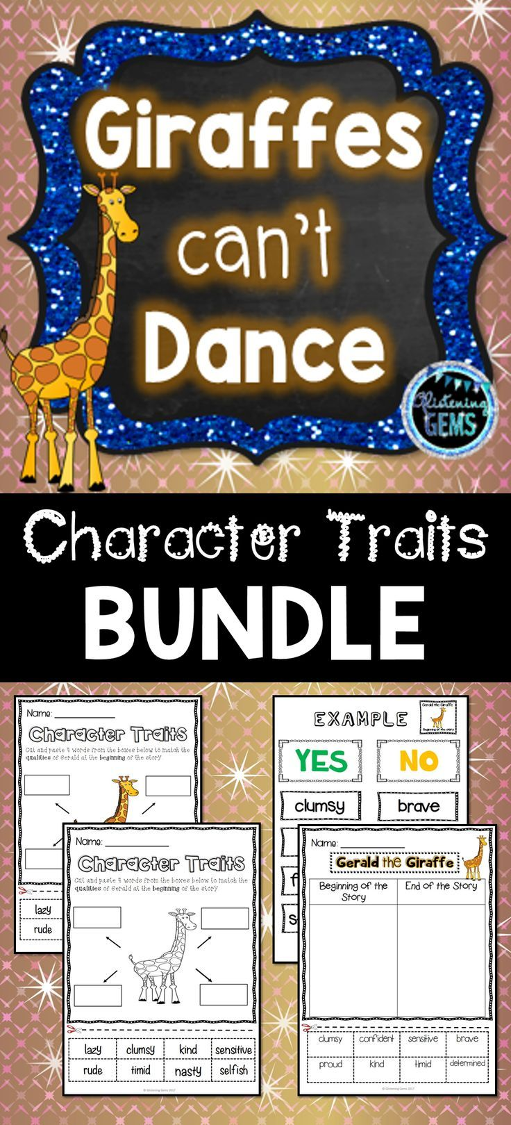 Giraffes Can\'t Dance Character Traits Bundle