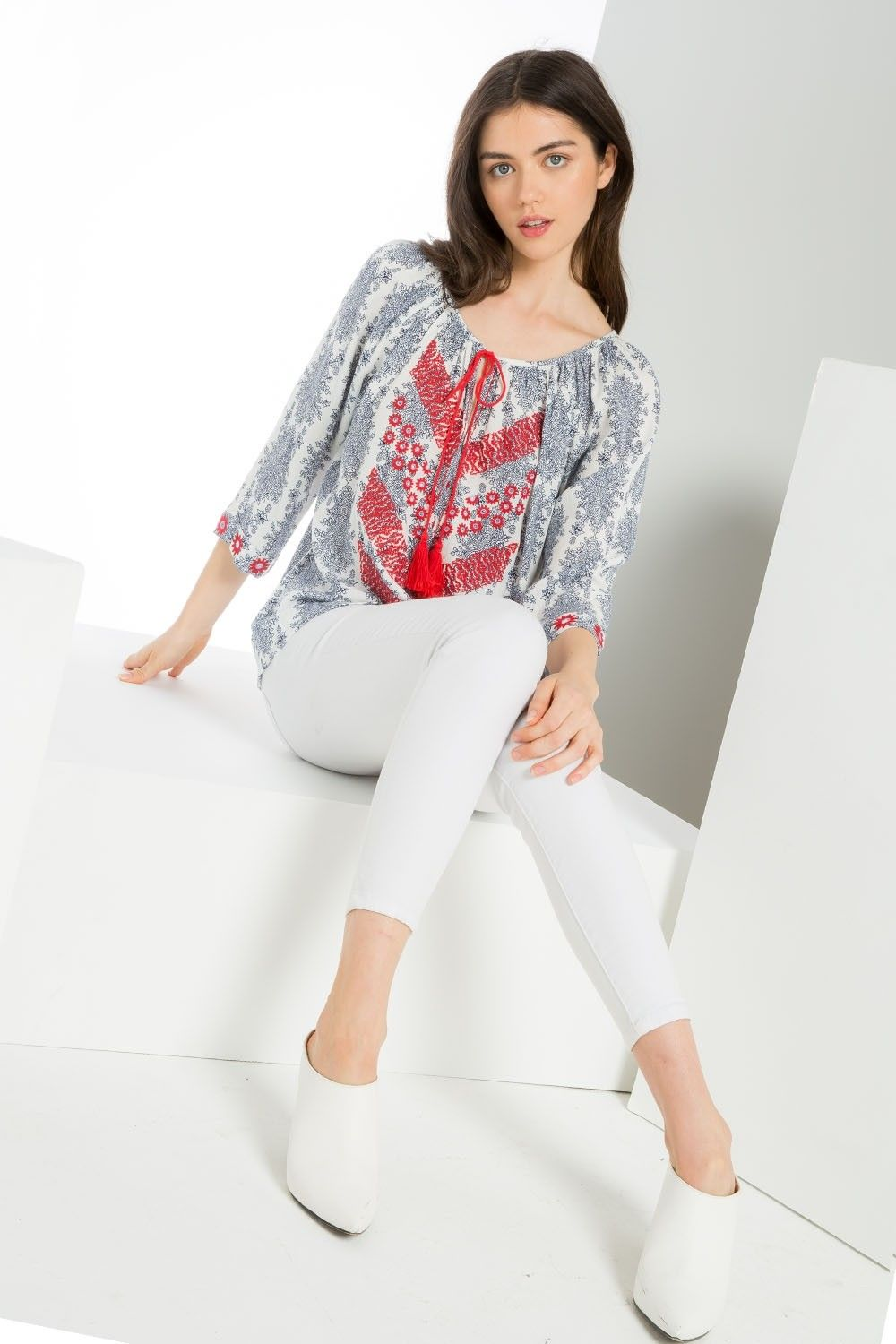 THML | Women's boho printed top with embroidery and tassels