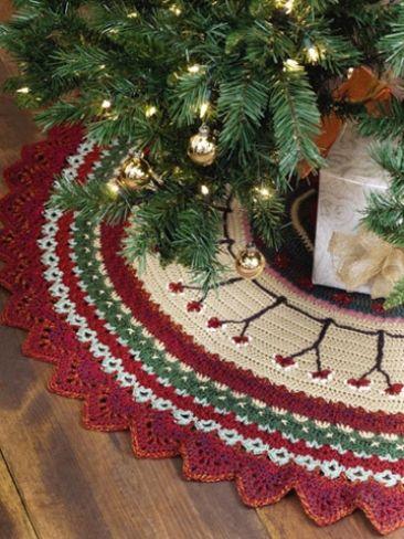 Christmas Tree Skirt Yarn Free Knitting Patterns