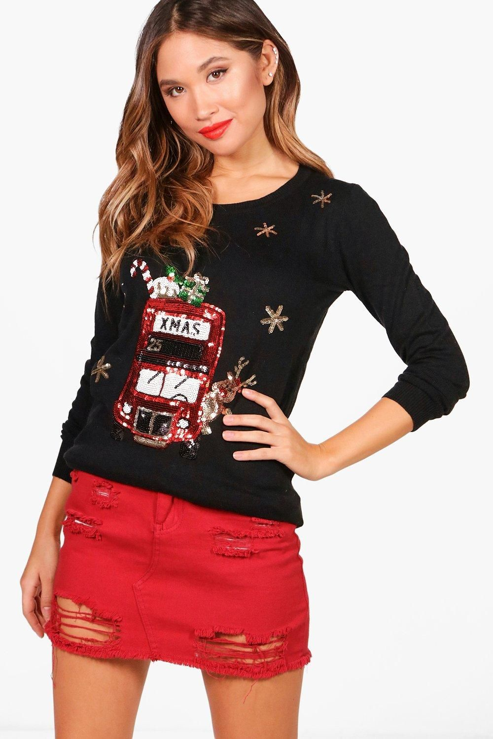 London Bus Sequin Christmas Jumper (With images) Sequin