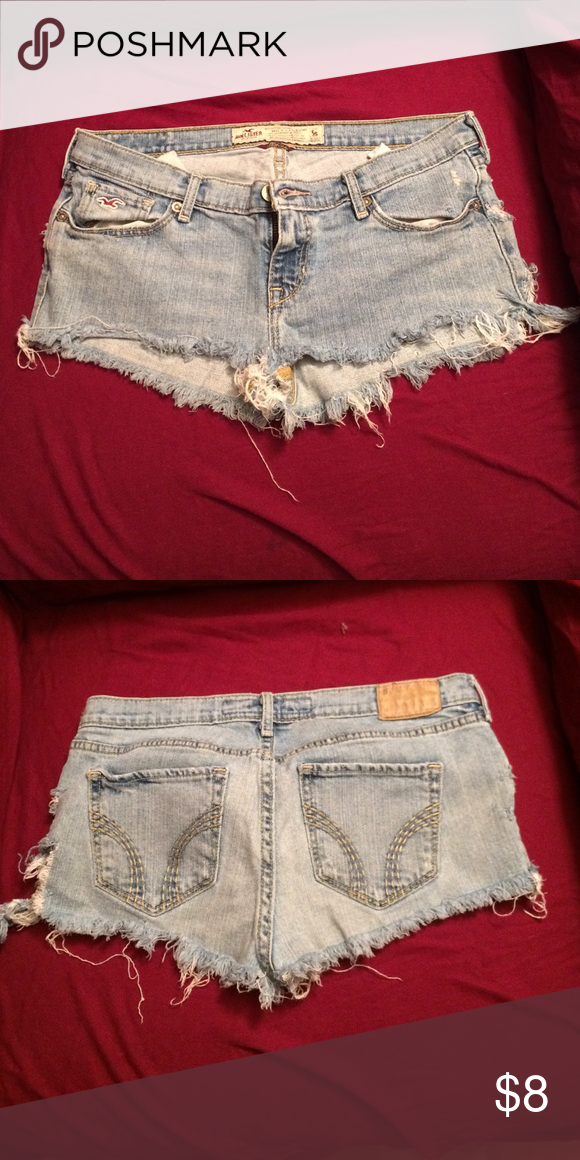Hollister booty shorts tag is a size 5 Cut them off myself these were my river shorts and my layin out shorts!! No stains no holes Hollister Shorts Jean Shorts